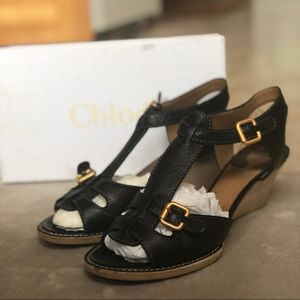 Chloe Black Leather T-Strap Wooden Wedge Sandals